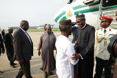 President Muhammadu Buhari being welcomed by Vice President Yemi Osinbajo on arrival from London at the Nnamdi Azikiwe International Airport Abuja on Saturday, August 19, 2017.