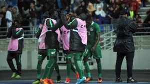 Super Eagles players celebrate victory in the ongoing 2018 CHAN