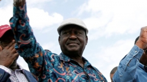 "Raila Odinga arrived at a rally on Sunday to chants of ""no peace"""