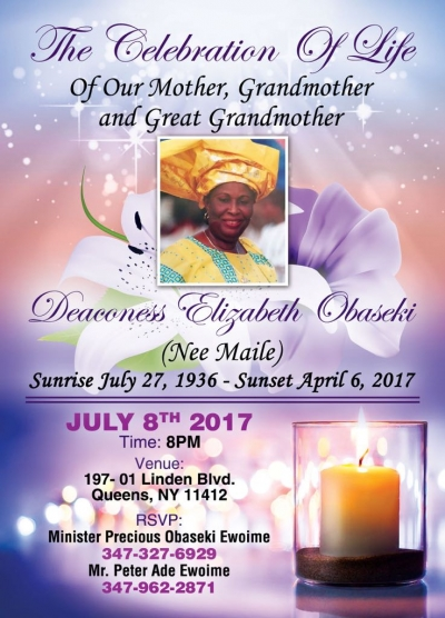 A celebration of Life: Deaconess Elizabeth Obaseki