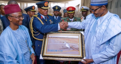 President Muhammadu Buhari on Thursday unveiled a surveillance Unmanned Aerial Vehicle (UAV) produced locally by the Nigerian Air Force Institute of Technology.