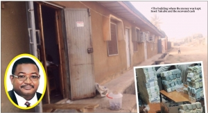 The building where the money was kept. Inset: Yakubu and the recovered cash