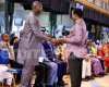 Prophet TB Joshua receiving George Weah in his Ikotun, Lagos church