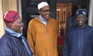 PRESIDENT BUHARI IN LONDON: PRESIDENT MUHAMMADU BUHARI RECEIVES APC CHIEFTAINS, SENATOR BOLA AHMED TINUBU AND CHIEF BISI AKANDE, AT ABUJA HOUSE IN LONDON ON THURSDAY, FEBRUARY 9, 2017