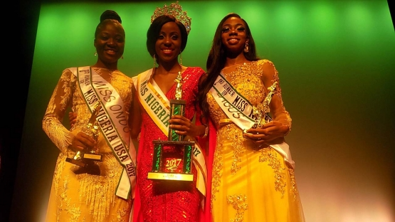 L-R: Miss Ondo – Ayoyemi Ajimatanrareje, First Runner-up; Miss Nigeria USA 2017 Idara Inokon; and Miss Lagos – Susan Adeyemi, Second Runner-up at the 2017 edition of Miss Nigeria USA on Saturday night in New York. PHOTO: NAN