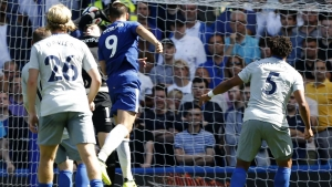 Chelsea's Spanish striker Alvaro Morata (C) scores his team's second goal during the English Premier League football match between Chelsea and Everton at Stamford Bridge in London on August 27, 2017.Ian KINGTON / AFP