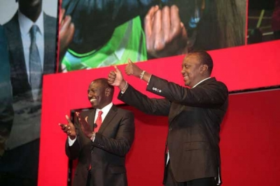 President Uhuru Kenyatta (right) and his Deputy William Ruto at the launch of Jubilee party manifesto at Kasarani Sports Centre in Nairobi on June 26,2017. PHOTO | EVANS HABIL | NATION MEDIA GROUP