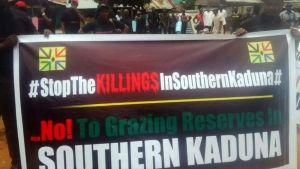 An August protest against Fulani herdsmen in Kaduna State.